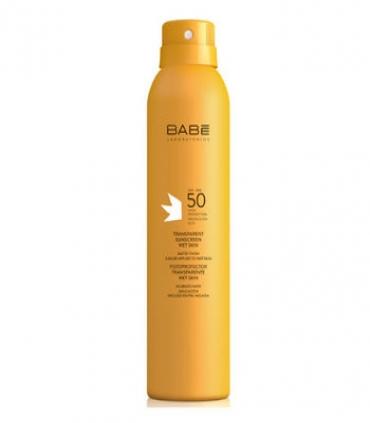 Babe Fotoprotector Transparente Wet Skin SPF 50  200 ml + Regalo Spray Reparador Calmante 200 ml